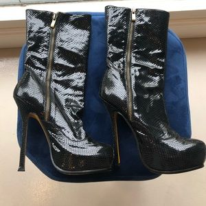 YSL black snake print stiletto boot